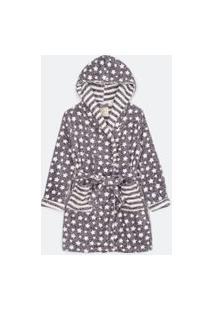 Robe Fleece Curto Manga Longa Estampa Com Estrelas E Listras | Lov | Cinza | Gg