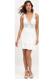Vestido Com Renda & Babado- Branco- Max Glammmax Glamm