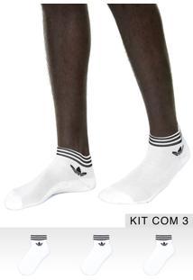 Kit 3Pçs Meia Adidas Originals Soquete Trf Ankle Stripes Branca/Preta