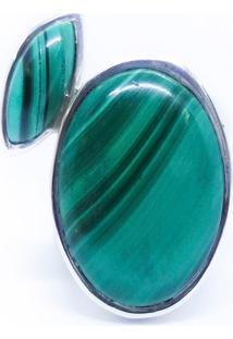 Anel Duas Malaquitas Prata 925 - Verde - Feminino - Dafiti