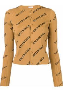 Balenciaga Cardigan Com Logo - Neutro