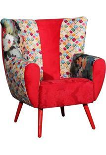 Poltrona Domi Decorativa Com Pés Palito Helena Vermelha Mosaico