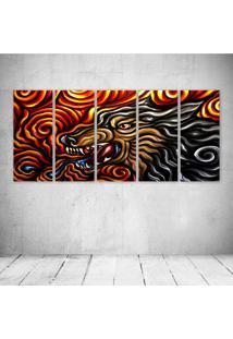 Quadro Decorativo - Dire Wolf Painting Made By Umatter - Composto De 5 Quadros - Multicolorido - Dafiti
