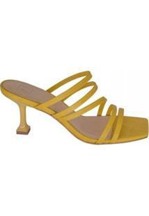 Sandália Salto Arquitetônonico Croco Marjorie Feminina - Feminino-Amarelo