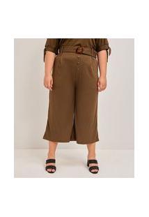 Calça Pantacourt Lisa Com Cinto Curve & Plus Size   Ashua Curve E Plus Size   Verde   Gg