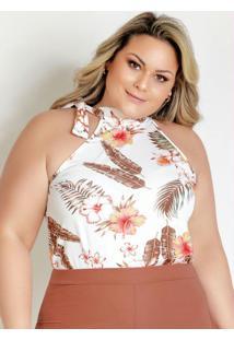 Blusa Floral Brancacom Gola De Amarrar Plus Size