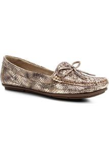 Mocassim Couro Shoestock Tramado Laço Feminino - Feminino-Dourado