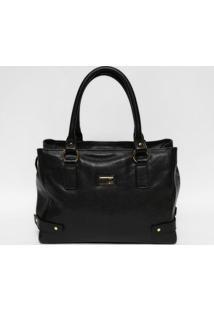 Bolsa Em Couro Texturizada- Preta & Dourada- 26X35,5Gregory