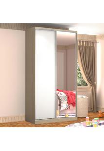 Guarda-Roupa Solteiro 2 Portas Correr 1 Espelho 100% Mdf Rc2005 Noce/Branco - Nova Mobile