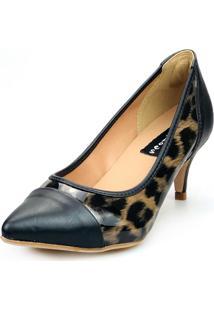 Scarpin Love Shoes Social Bico Fino Salto Médio Captoe Verniz Onça Preto - Kanui