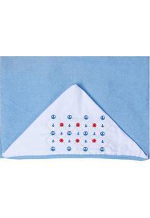 Toalha De Banho Atoalhada- Azul Claro & Branca- 80X9Papi