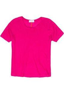 Blusa De Linho Decote Canoa Feminina - Feminino-Pink