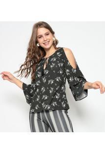 Blusa Floral Com Babados- Preta & Verde- Miss Bellamiss Bella