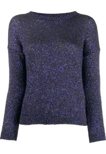Saint Laurent Glitter Crewneck Sweater - Azul