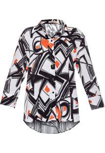 Camisa Mullet Canellado Estampada Estampa Branco/Preto