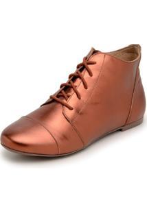 Bota Feminina Casual Confort Cano Curto Ankle Boot Cavalaria Metalizada - Bronze - Feminino - Couro LegãTimo - Dafiti