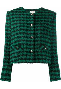 Sandro Paris Clarissa Houndstooth Jacket - Verde