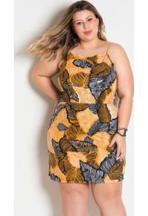 Vestido Decote Trapéxio Plus Size Folhagem