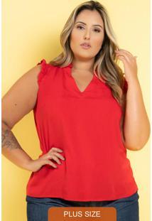 Blusa Viscose Gola Fru-Fru Vermelho Plus Size