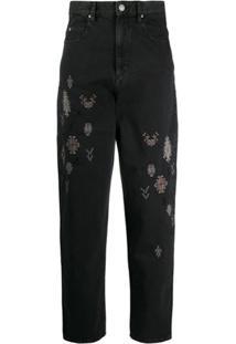 Isabel Marant Étoile Calça Jeans Cintura Alta Com Bordado - Preto