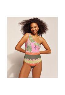 Maiô Emi Beachwear Estampado Bananeiras Um Ombro Só Com Proteção Uv50+ Biodegradável Rosa