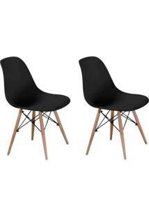 Conjunto Com 2 Cadeiras Eames Eiffel Preto Base Madeira