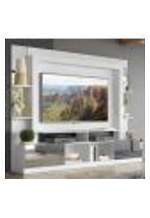 """Rack Estante Com Painel Tv 65"""" E Espelho Oslo Multimóveis Branco/Lacca Fumê"""