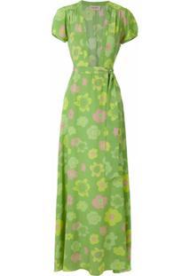 Adriana Degreas Vestido Longo De Seda - Verde