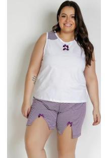 Pijama Regata Plus Size Branco E Roxo