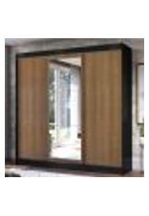 Guarda-Roupa Casal Madesa Istambul 3 Portas De Correr Com Espelho 3 Gavetas - Preto/Rustic