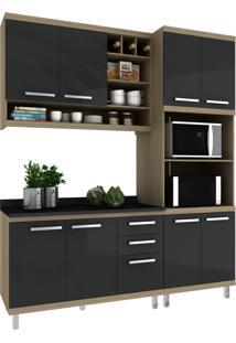 Cozinha New Vitoria 13 Avelã Hecol Móveis Preto/Marrom