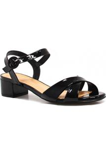 Sandália Zariff Shoes Salto Verniz - Feminino-Preto