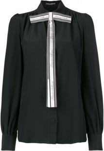 Dolce & Gabbana Blusa De Seda Com Laço - Preto
