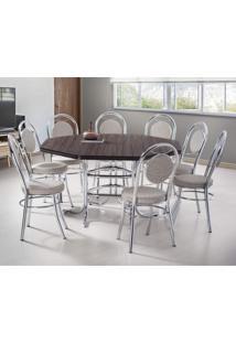 Conjunto De Mesa Com 8 Cadeiras Estofadas Mirela Móveis Brastubo Ameixa Negra/Marrom