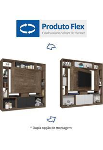 Estante Home Para Tv Até 55 Polegadas Divisor De Ambientes Versus Siena Móveis Avelã/Preto Black