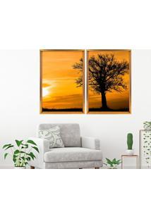 Quadro Love Decor Com Moldura Chanfrada Por Do Sol Com Árvore Dourado - Grande
