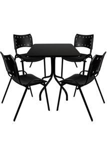 Jogo De Mesa Fixa 70 Por 70 Tampo Preto 4 Cadeiras Preta Plástico