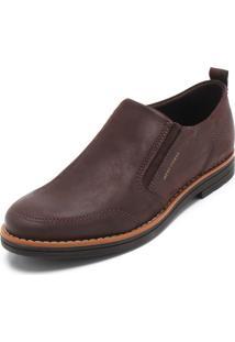 Sapato Couro West Coast Recorte Marrom