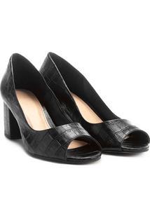 Peep Toe Couro Shoestock Salto Grosso Croco - Feminino