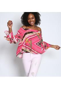 Blusa Ciganinha Floral- Pink & Amarelatvz