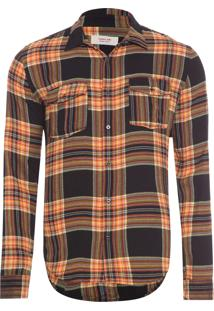 Camisa Masculina Track Plaid - Preto E Laranja