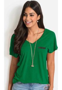 Blusa Com Bolso Em Malha Flamê Verde