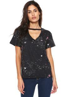 Camiseta Fiveblu Choker Space Preta