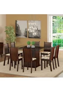 Conjunto De Mesa Com 8 Cadeiras Camila Tabaco E Lírio Bege