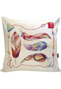Capa De Almofada Feathers- Bege & Vermelha- 42X42Cm