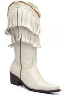 Bota Top Franca Shoes Country Feminino - Feminino-Branco