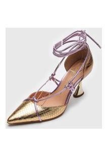 Scarpin Luiza Barcelos Amarração Dourado/Rosa