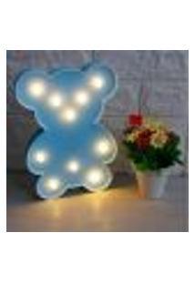 Luminária Led Abajur Infantil Decoracão Ursinho Azul