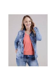 Jaqueta Jeans Oversized Feminina Azul