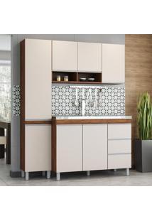 Cozinha Compacta Majestade 7 Portas 3 Gavetas Seda/Off White - Viero Móveis